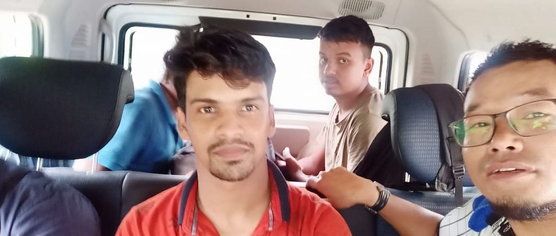 Some of the stranded students being transported to Mizoram University
