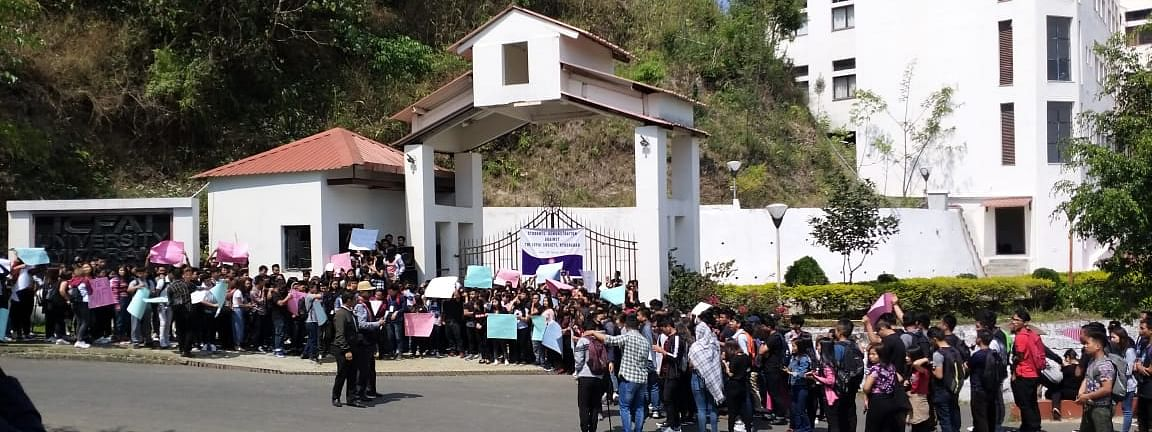 ICFAI students protest at the entrance to the ICFAI University Mizoram campus