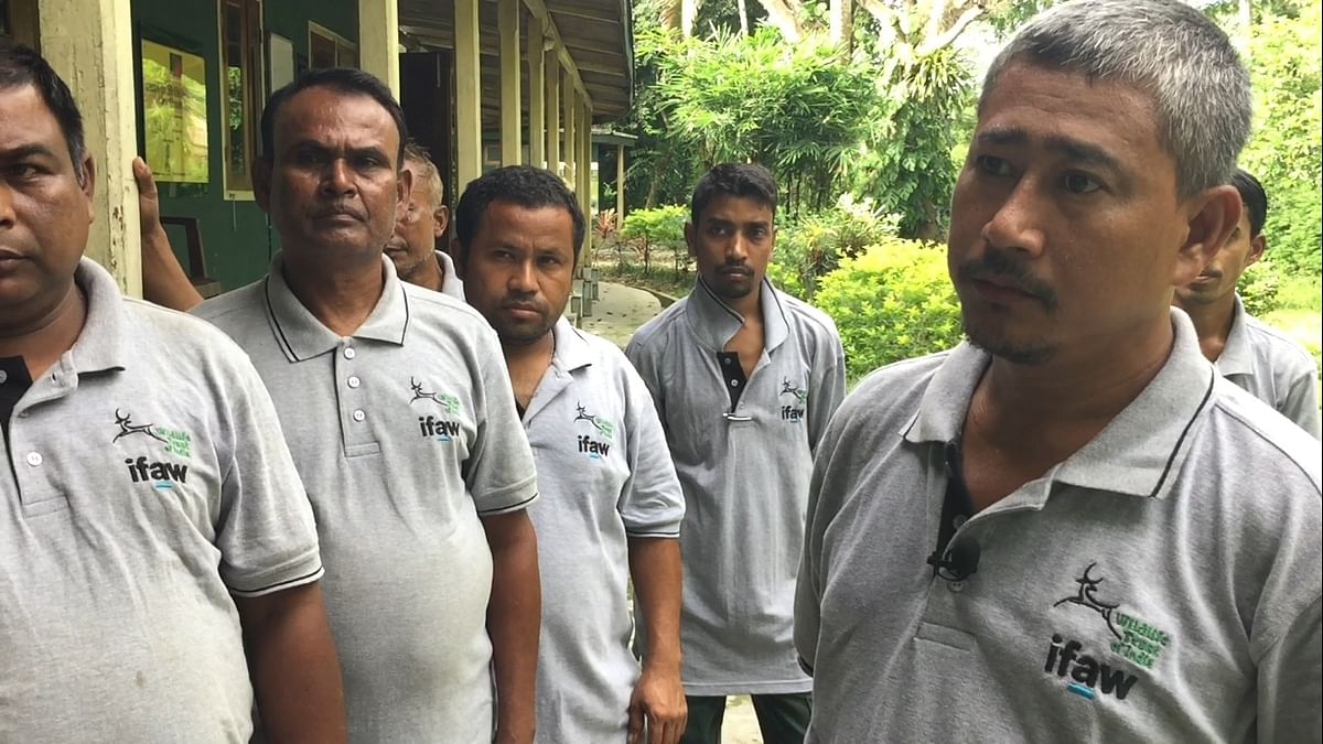Chandra Swargiary (right) of the Centre for Wildlife Rehabilitation and Conservation in Kaziranga, Assam was among the team of rescuers who saved the rhino cub