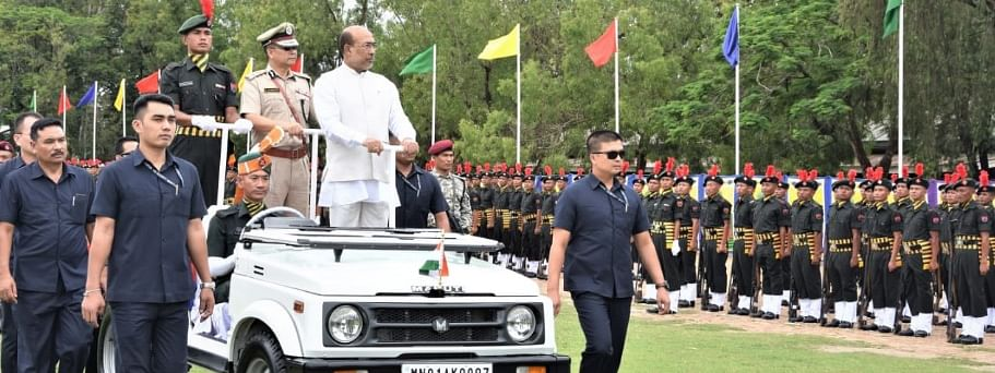Manipur CM N Biren Singh inspecting the 5th batch of MR, IRB and CP on the 'passing out parade' event at Manipur Police Training College, Pangei