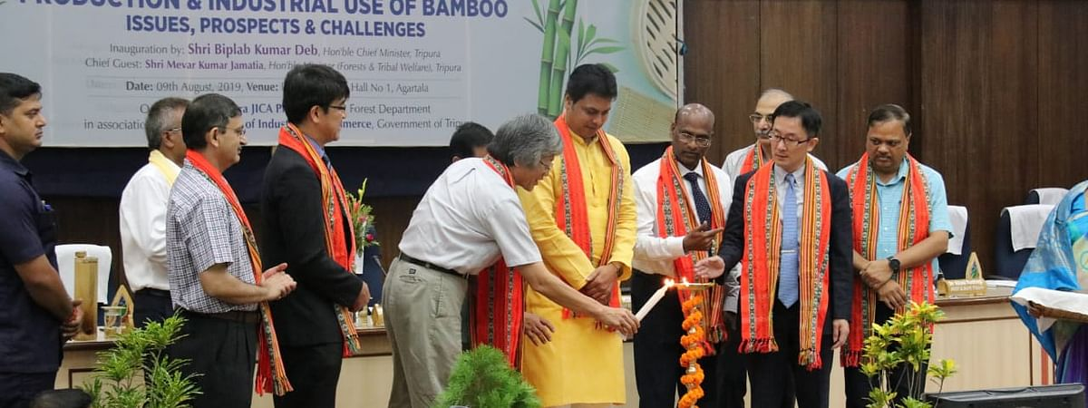 Chief minister Biplab Kumar Deb inaugurating a one-day workshop on product and industrial use of bamboo in Agartala