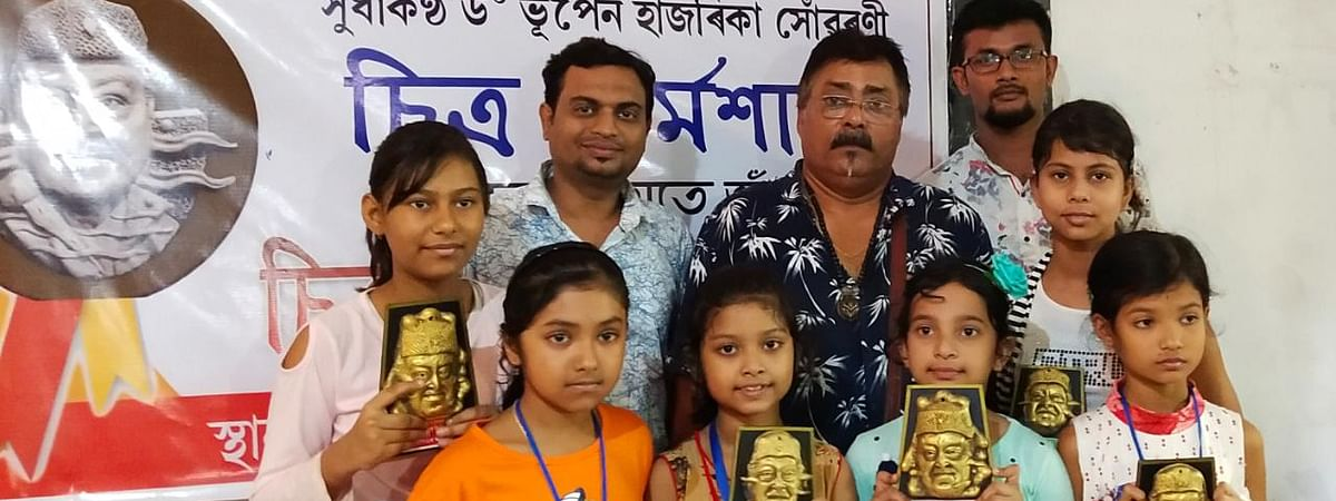 Some of the winners of the 'Dr Bhupan Hazarika memorial drawing competition' held in Assam's Nagaon district on Thursday