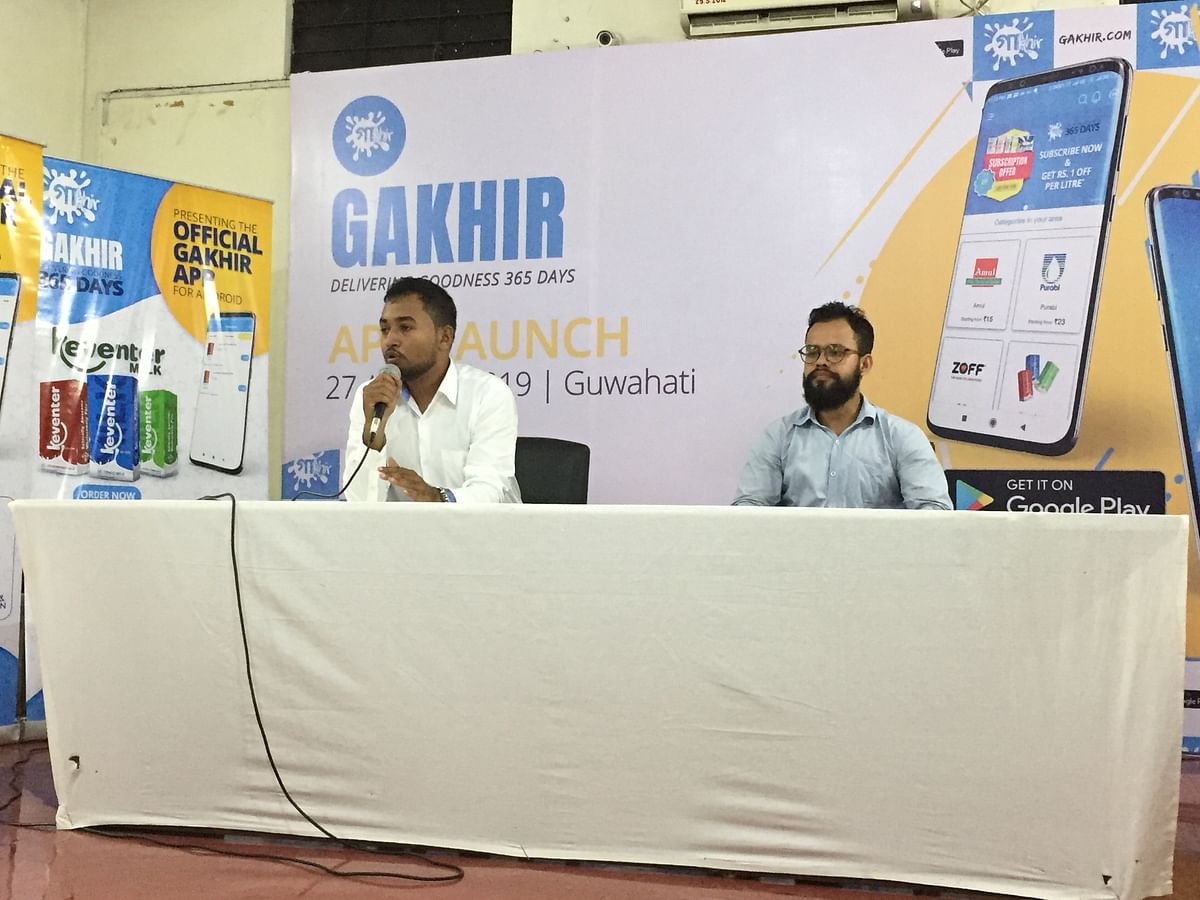 (From left) Gakhir founder Nazim Ahmed and co-founder Shahidul Alam at the launch of their app in Guwahati, Assam on Tuesday