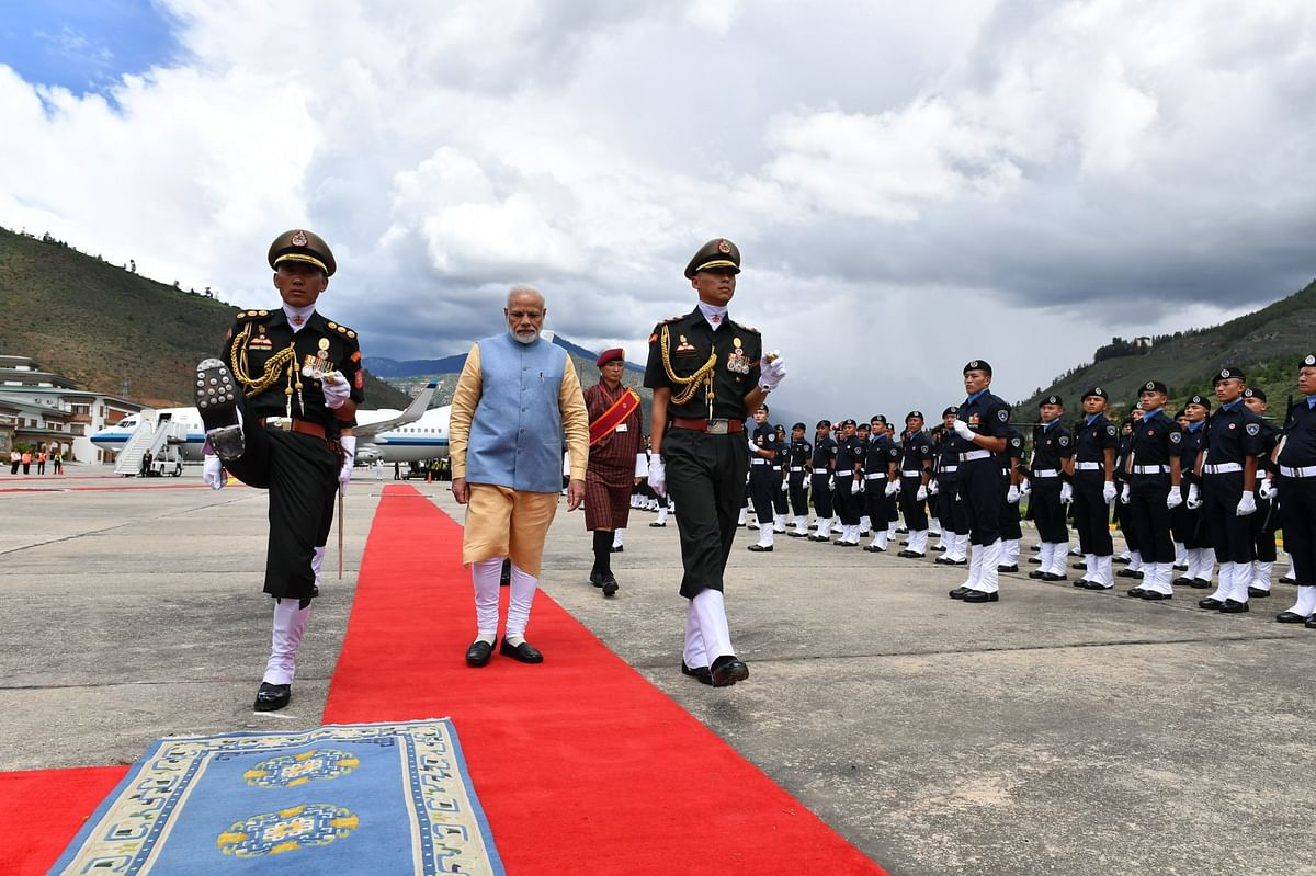 Shortly after his arrival in Bhutan, PM Narendra Modi received a guard of honour at the Tashichhoedzong Palace