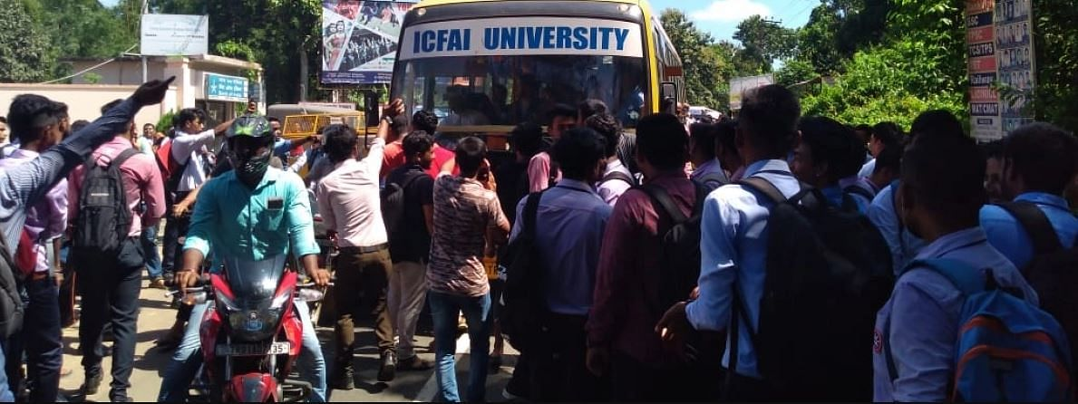 Clashes between students of ICFAI University in Tripura were reported on Monday
