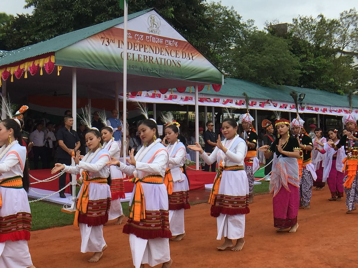 Participants dressed in Manipuri traditional attire at Independence Day parade in Imphal, Manipur on Thusday