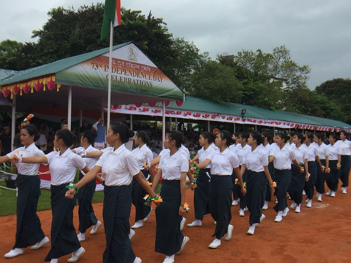 Participants at the Independence Day parade in Imphal, Manipur on Thursday