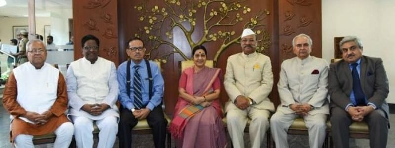 Former foreign minister Sushma Swaraj with some of the then governors of the Northeastern states at Jawaharlal Nehru Bhawan in New Delhi on October 6, 2015