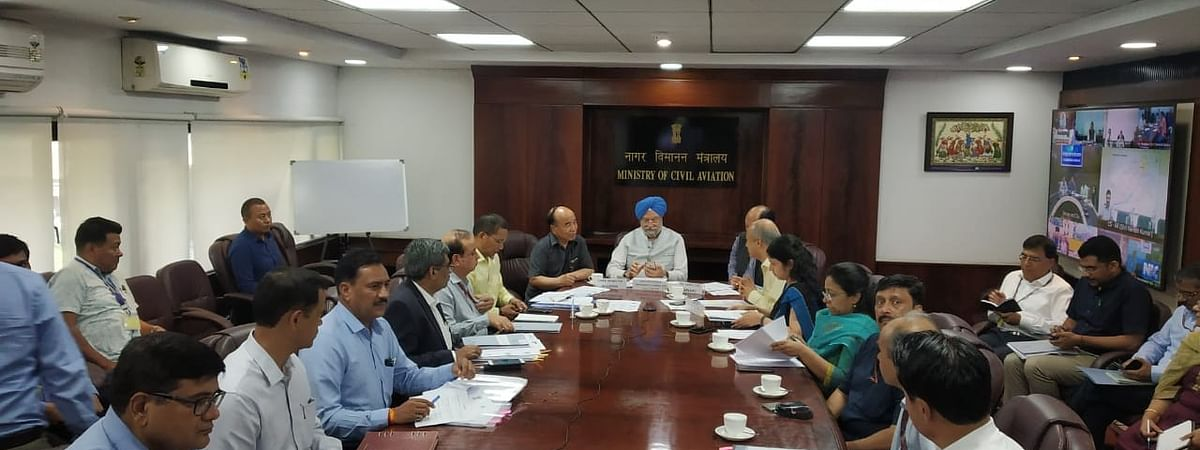 Mizoram CM Zoramthanga discussing the matter with Union civil aviation minister Hardeep Singh Puri and other officials in New Delhi on Tuesday