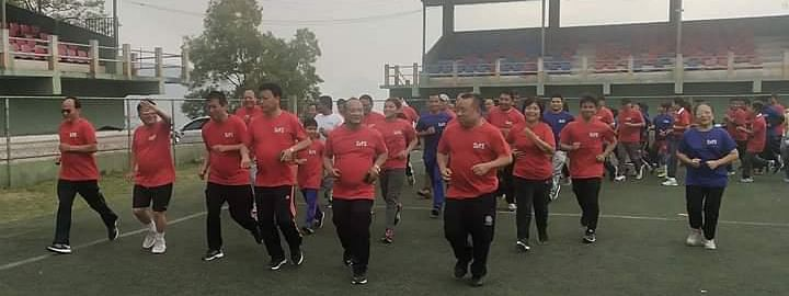 Ministers take part in a run during the launch of Fit Mizoram Movement in March this year
