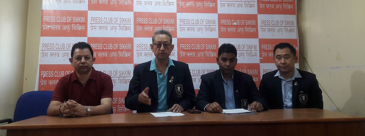 Senior officials of the Badminton Association of Sikkim at a press conference in Gangtok, Sikkim