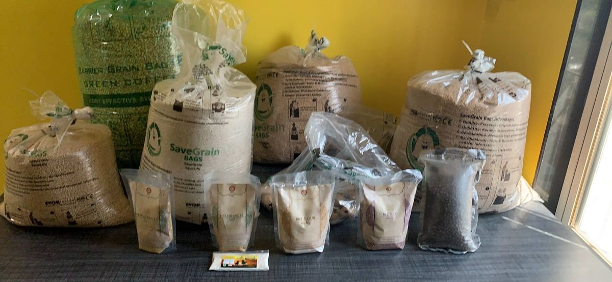 Some of the various products of SaveGrain Bags