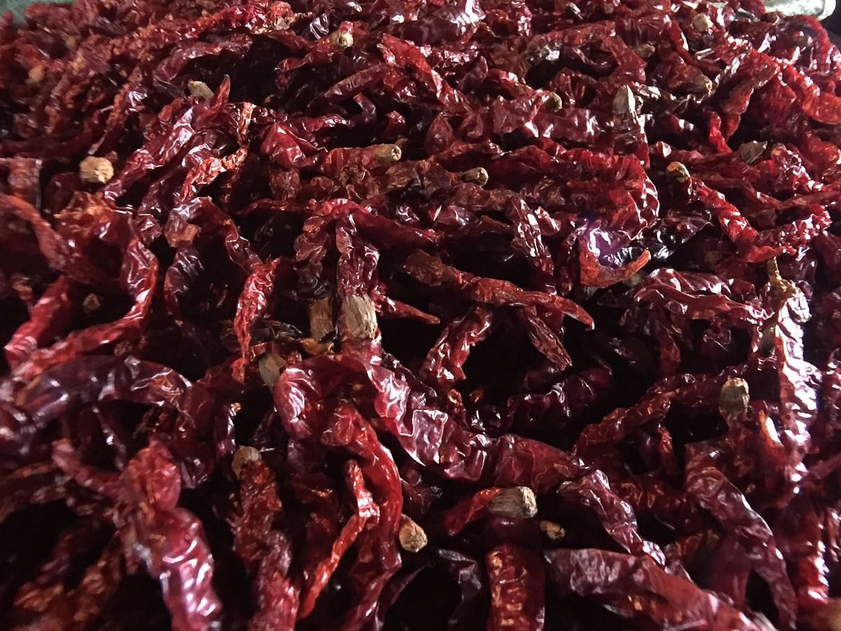 Dried hathei (chillis) being displayed at Sirarakhong Hathei Phanit in Ukhrul district, Manipur