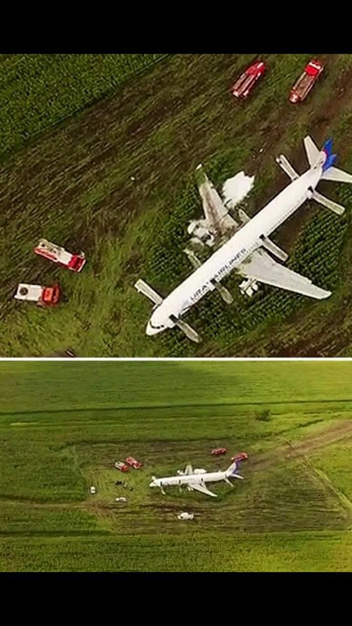 A Russian passenger jet with 233 on board hit a flock of birds, forcing it to make an emergency landing in a cornfield nearby Moscow, Russia on Thursday