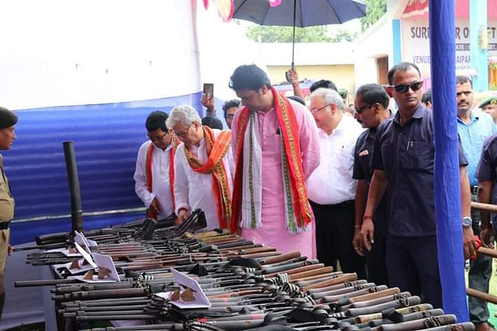 Tripura chief minister Biplab Kumar Deb inspecting the seized weapons