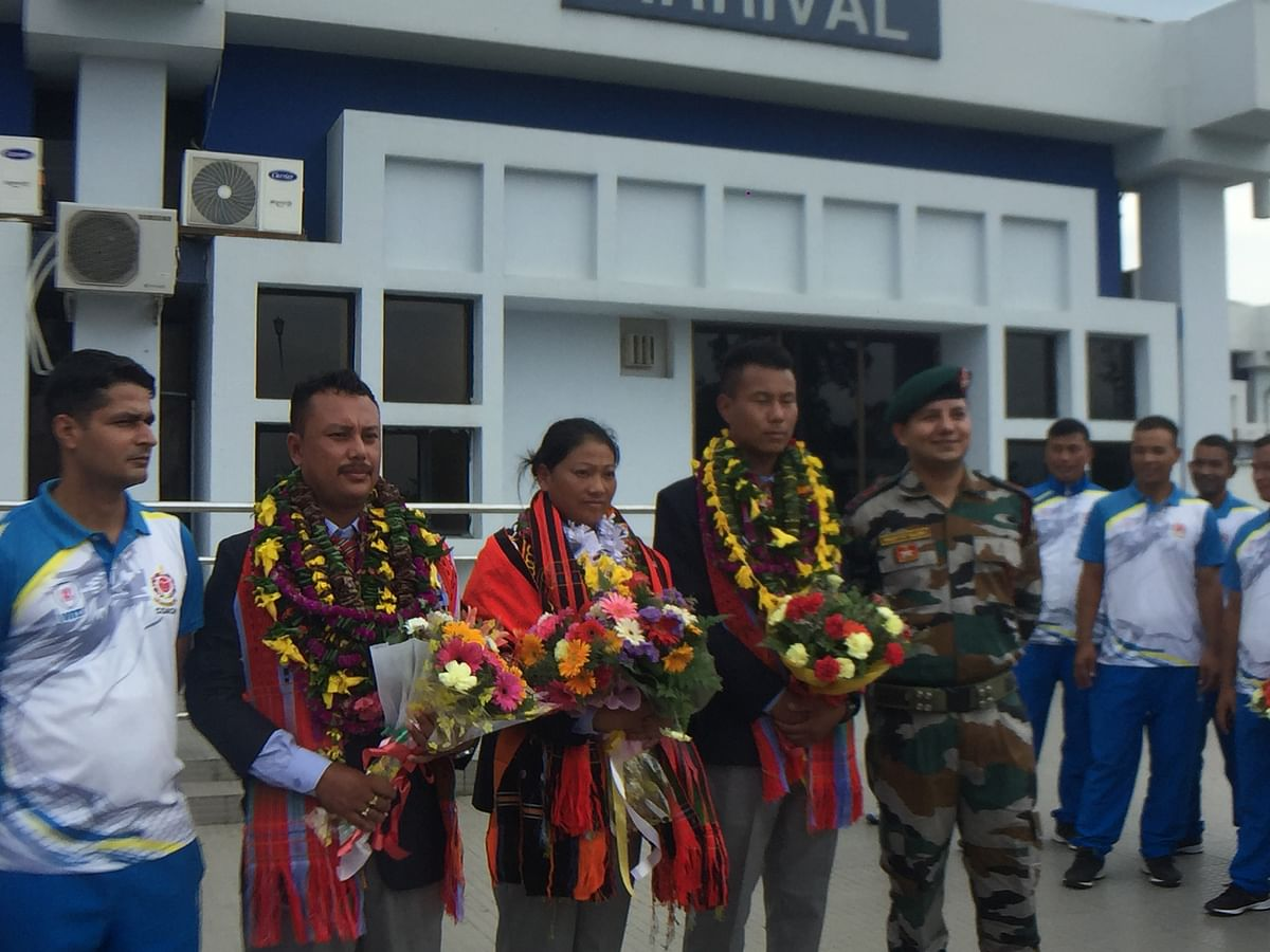 Assam Rifles' archery team felicitates their fellow colleagues who participated at World Police and Fire Games held at Chengdu in China recently