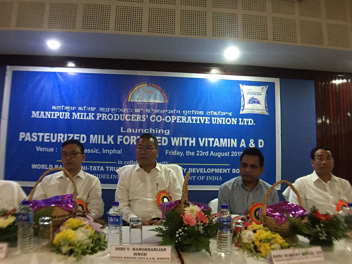 Manipur minister for agriculture, veterinary and animal husbandry V Hangkhanlian launched the fortified toned milk with Vitamin A and D in Imphal
