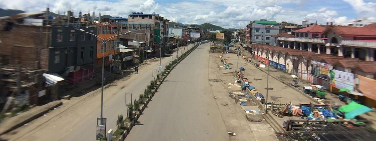 Deserted look of a Manipur road