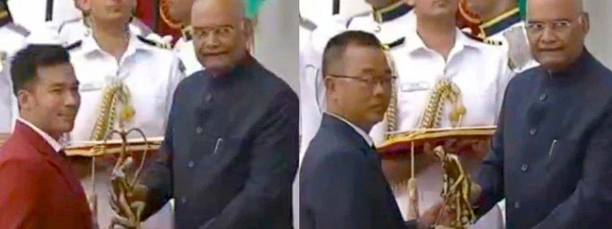 Chinglensana Kangujam (left) from Manipur receiving the Arjuna Award while C Lalremsanga from Mizoram being awarded Dhyan Chand Award by President of India in New Delhi on Thursday