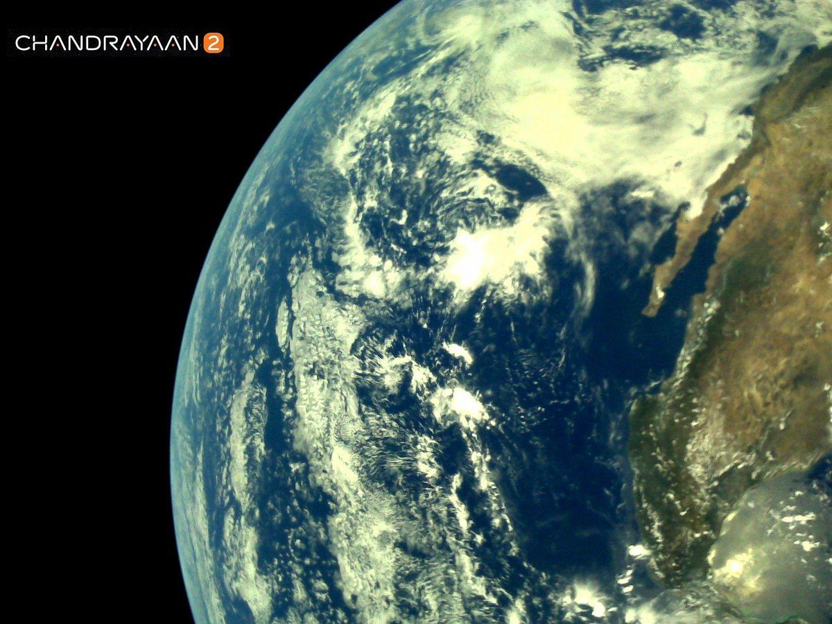 One of the first images of the Earth, clicked by LI4 Camera of Chandrayaan-2's Vikram lander, as viewed from space