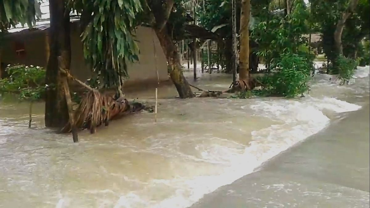 Dighalipathar village in Bokakhat district was completely inundated due to flood