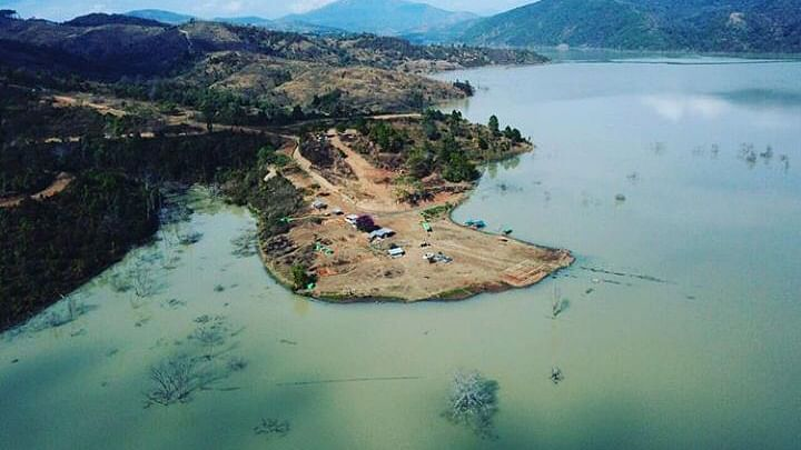 An aerial view of Chadong in Manipur after the rise of water in the Mapithel dam