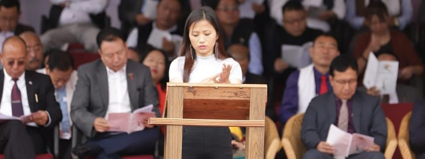 Nagaland CM Neiphiu Rio's Independence Day speech being interpreted in sign language in Kohima on Thursday