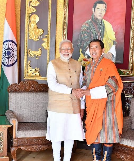 Bhutanese counterpart Lotay Tshering received PM Narendra Modi on Saturday