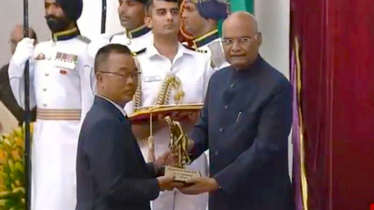 C Lalremsanga from Mizoram is awarded with the Dhyan Chand Award for his contributions in archery