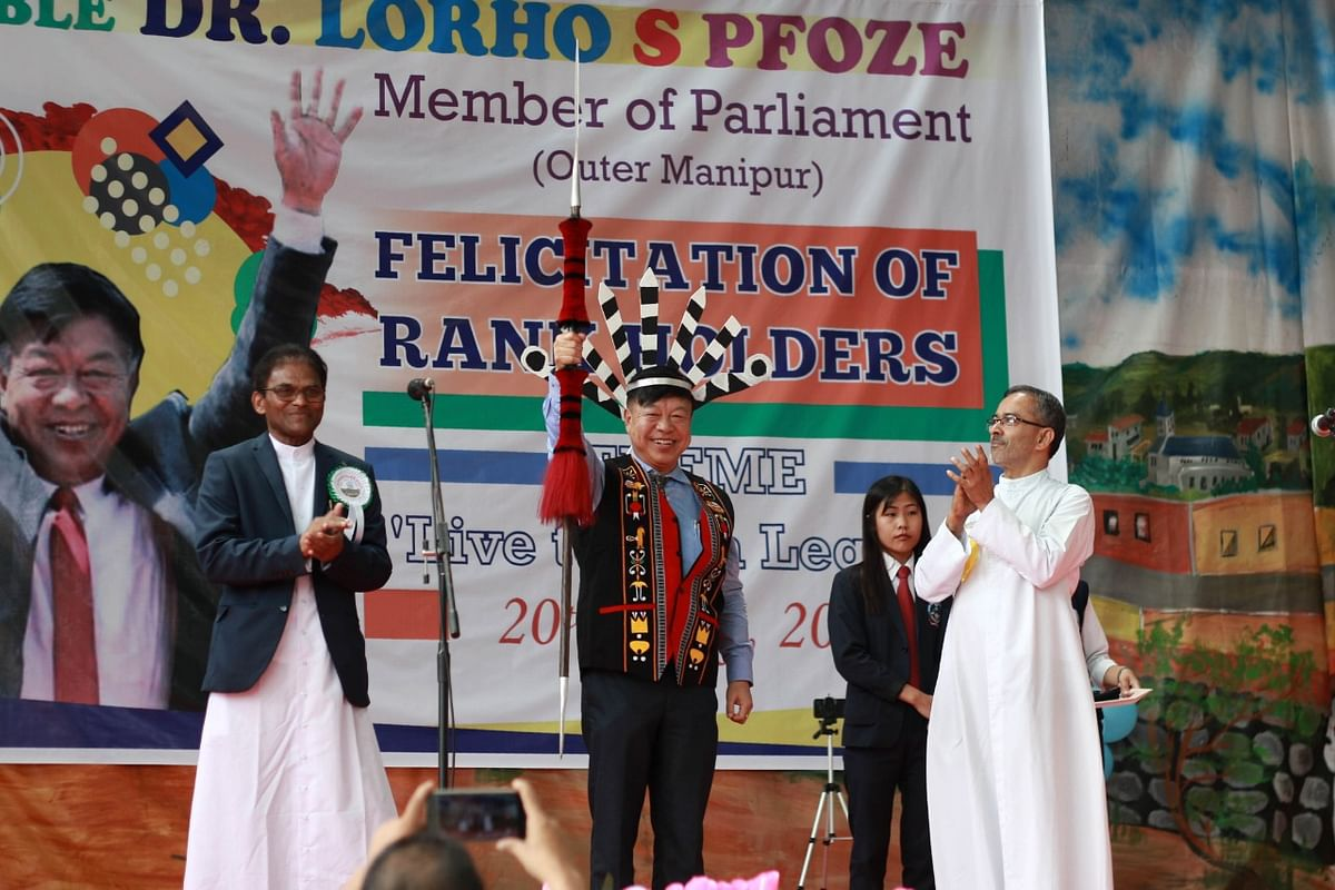 Outer Manipur MP Lorho S Pfoze being welcomed at the felicitation programme in Senapati