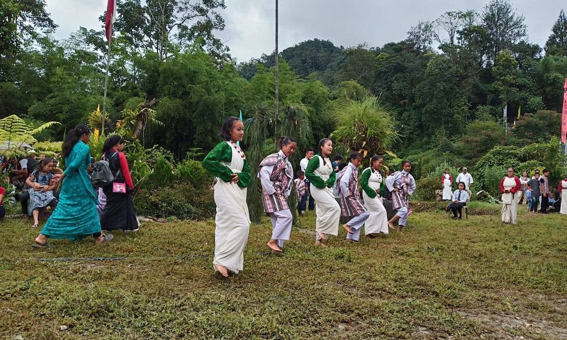 Children performing lepcha dance at Ringhim, North Sikkim. In an instance of citing examples for women empowerment, the exemplar of a local vegetable seller from Pakyong was taken in the new textbooks