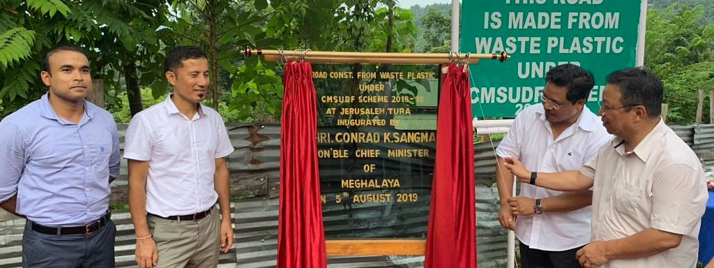 Meghalaya chief minister Conrad K Sangma inaugurating the road made up of waste plastic  in Tura in West Garo Hills district