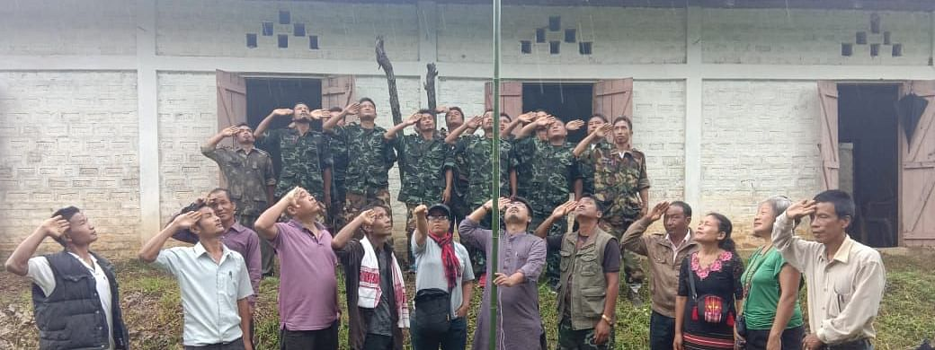 Hmar People's Convention (Democratic) members celebrating Independence Day on Thursday