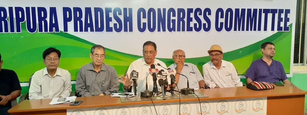 Pijush Kanti Biswas (middle) was appointed as acting president of Tripura Pradesh Congress Committee (TPCC) on Tuesday