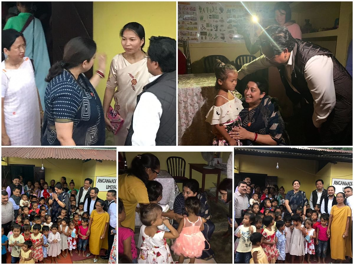 Union minister Smriti Irani also interacted with some Anganwadi workers and children in Ri-Bhoi district of Meghalaya on Monday