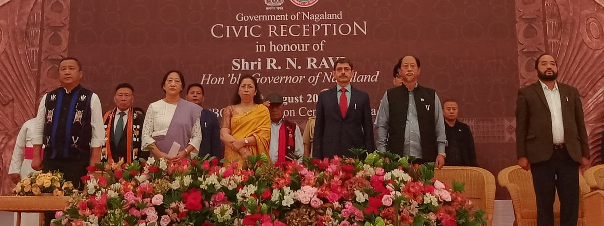 Nagaland governor RN Ravi along with CM Neiphiu Rio, among others, during a civic reception held at the NBCC Convention Centre at Secretariat, Kohima on Friday