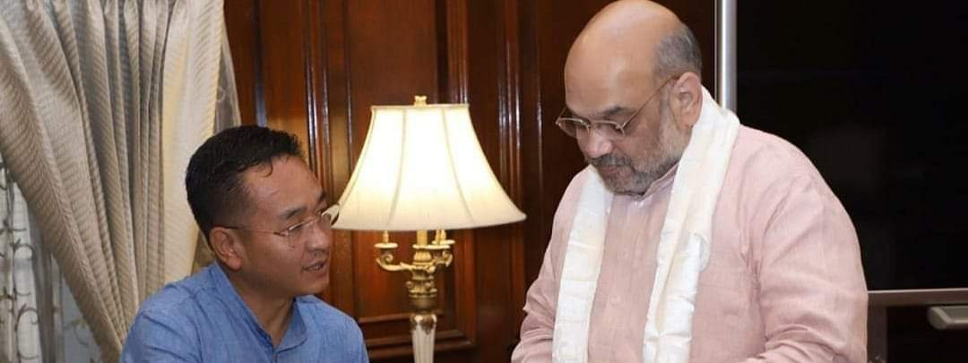 Chief minister Prem Singh Golay (left) with Union home minister Amit Shah
