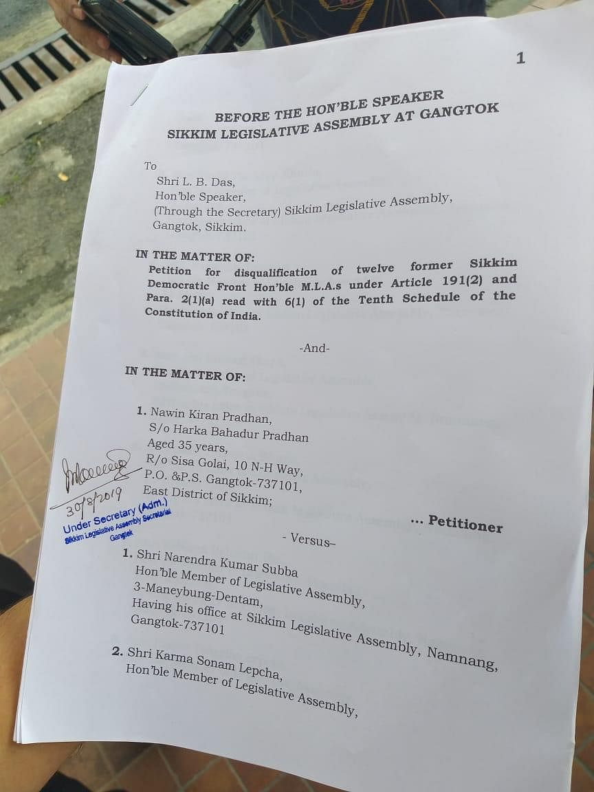 The petition filed by Sikkim Subject Committee vice-convenor Nawin Kiran Pradhan