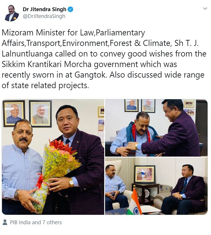 DoNER minister Jitendra Singh's tweet mixing up Mizoram for Sikkim on Friday