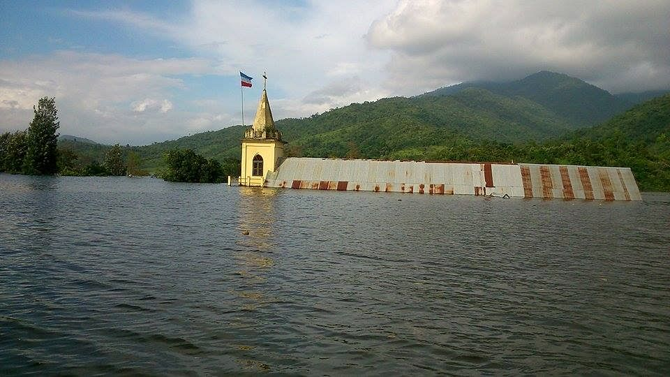 The submerged church in Chadong has become one of the most significant landmarks consumed by the rising dam water in Manipur's Ukhrul district