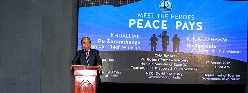 Mizoram chief minister Zoramthanga addressing 'Meet the Heroes: Peace Pays' conference in Aizawl on Thursday
