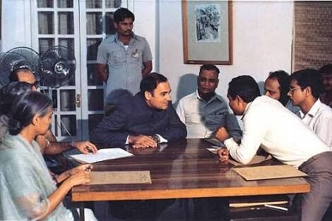 A historic image captured during the signing of the Assam Accord in 1985
