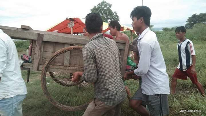 Villagers pulling an ailing old patient for miles to reach the nearby hospital in Assam's Karbi Anglong district