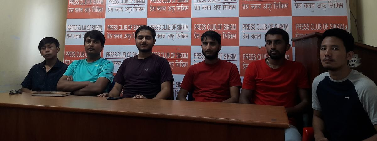 SPYF members addressing the media persons at Press Club of Sikkim