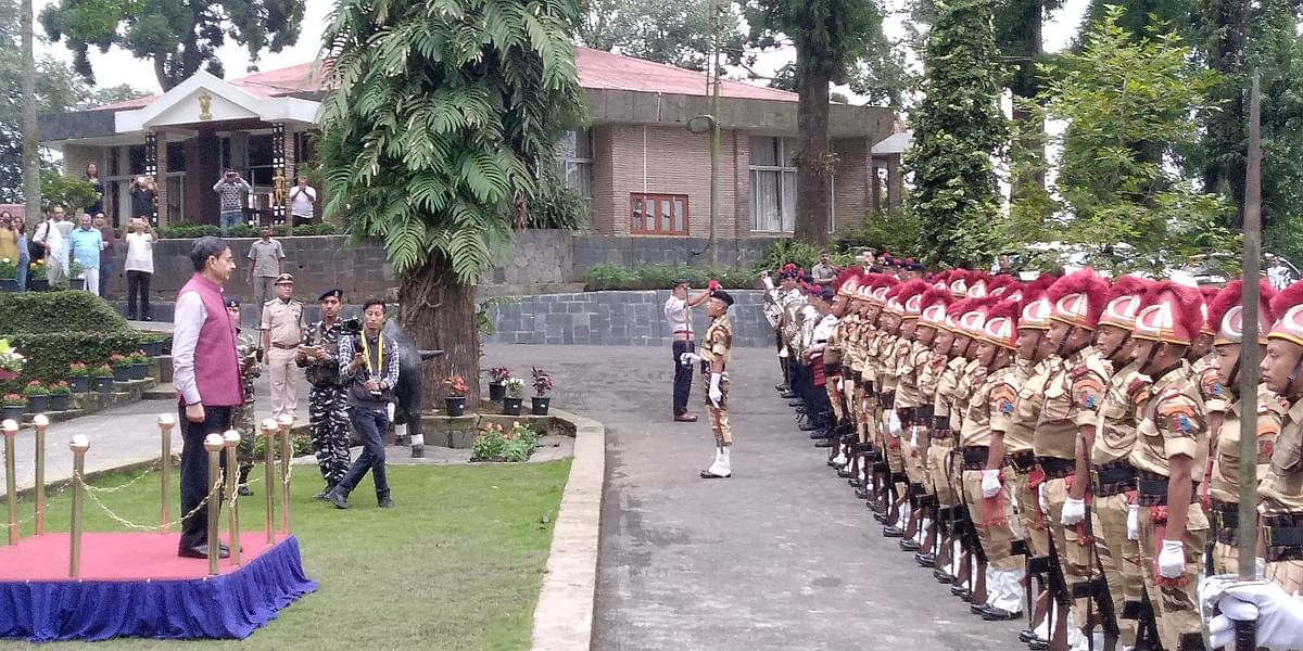 The interlocutor for Naga peace talks took the general salute at Raj Bhavan accorded by the Nagaland Police on Wednesday