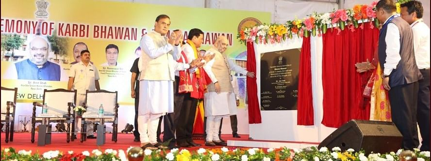 Union home minister Amit Shah, Assam chief minister Sarbananda Sonowal and minister Himanta Biswa Sarma at the foundation stone laying ceremony of Karibi Bhawan and Dimasa Bhawan in New Delhi on Monday