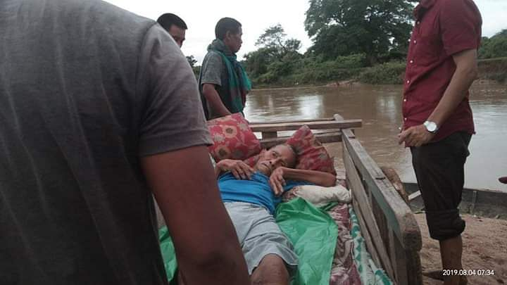 Locals had to cross Chomna river carrying the patient on shoulders to reach the nearest hospital