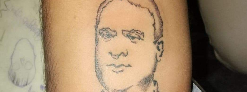Karna Kundal Bharali's tattoo of Assam minister Himanta Biswa Sarma's portrait on his forearm