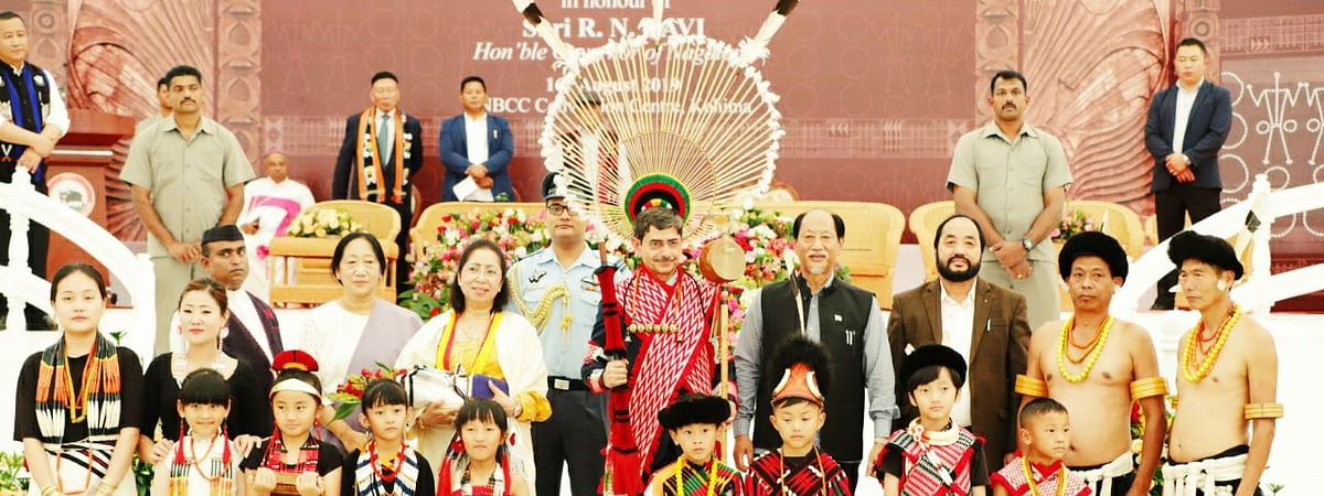 Nagaland governor RN Ravi being accorded a grand civic reception at the NBCC Convention Centre at the Secretariat in Kohima on Friday