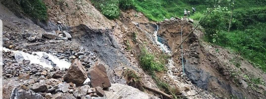 A landslide in West Sikkim district due to incessant rainfall